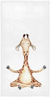 Wamika Cute Giraffe Yoga Hand Towels Cartoon Watercolor Bath Towels Soft Absorbent Multipurpose Bathroom Towel for Hand,Fa...