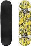 Monopatín Vinilo LP Disco de música Sunset Yellow Placa Deslizante Deportes Extremos y al Aire Libre 31 Longboard para niños, Adolescentes y Adultos 8 Layer Maple Double Kick Deck Concave- # 2