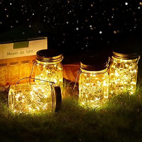 Solar Mason Jar Garden Lights - 4 Pack 30led Jar Outdoor Hanging Lights Solar String Decorative Lamps IP65 Waterproof Indoor/Outdoor Lantern for Patio Wedding Yard Lawn Party