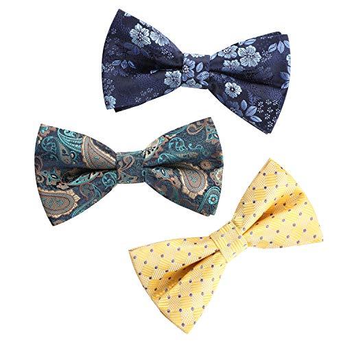 HISDERN Papillon da uomo,set da 3 pezzi Cravatta a farfalla pre-legati per la festa nuziale Papillon regolabili fantasia fantasia Cravatta