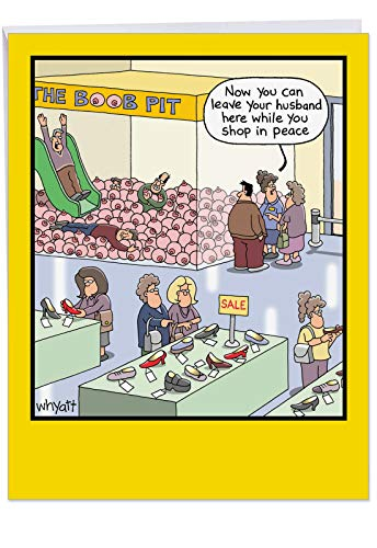 Big Happy Birthday Cartoon Greeting Card 8.5 x 11 Inch - Funny Printed Boob Pit Shopping Mall - Hilarious Bday Cards for Women and Girls w/ Envelope J4349BDG