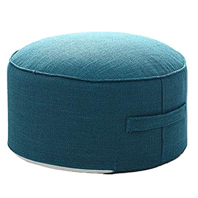 """Small Pouf for Kids Foot Stools Ottomans - Foot Rest Pouffe for Sitting, Ottoman Pouf for Living Room Small Space, Lightweight & Handle Design for Easy Removal 14""""x14""""x7"""""""
