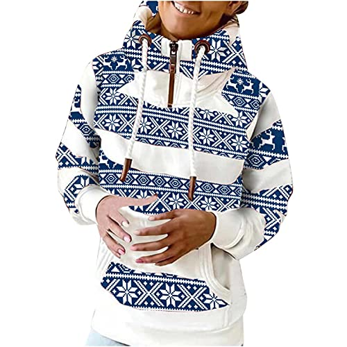Women Hoodies Zip Up Sweatshirts Striped Print Long Sleeve Drawstring Stretchy Blouses Casual Pullover