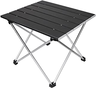 [キャンプ テーブル] Dontery アルミテーブル 折りたたみ アウトドアテーブル 耐荷重30kg ロールテーブル 専用収納袋付き