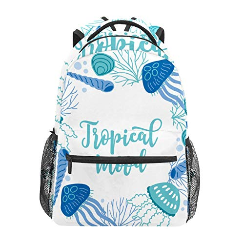 School Backpack Jellyfish Horn Blue Circle Casual Travel Laptop Daypack Canvas Book Bags for Woman Girls Boys Student Adult Men