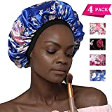 Soft Silk Hair Bonnet with Wide Band,Comfortable Night Sleep Hat Hair Loss Cap (4 Pack)