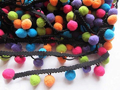YYCRAFT Multicolor Pom Pom Ball Fringe Trim Ribbon Sewing(5 Yards)