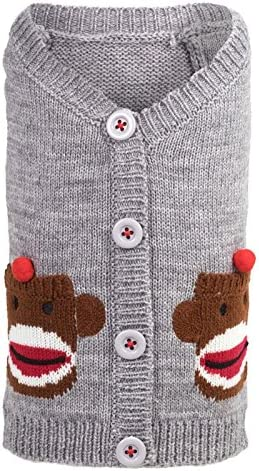 The Outstanding Worthy Dog Sock Monkey Cardigan Soft Cute with Colorado Springs Mall Comf V-Neck