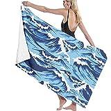Toallas de baño Ocean Waves Blue Toalla de Playa Multiusos de Gran tamaño 130 X 80 cm Ultra Suave Absorbente de Agua súper