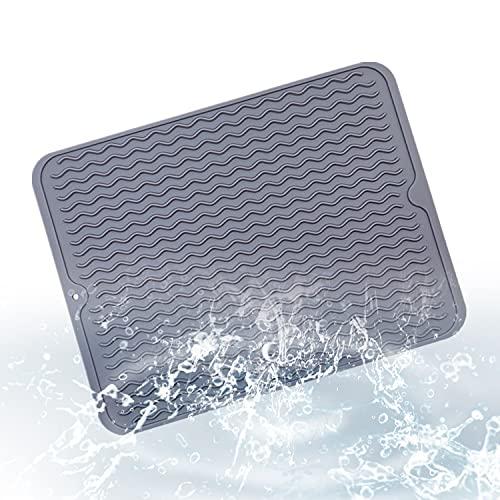 HENGBIRD Escurreplatos de silicona, cojín de secado para escritorio, almohadilla antideslizante para el almacenamiento de platos y platos, cojín de secado de 40 x 30 cm