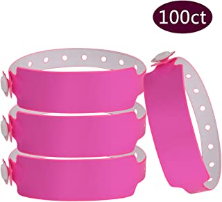 Wristall Plastic Wide Face Wristbands for Events - Vinyl Wristbands of Party by Fivepeans(Neon Pink, 100)
