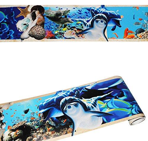alles-meine.de GmbH Wandbordüre - selbstklebend -  Fische / Unterwasser / Delfin  - 2,5 m - Wandsticker / Wandtattoo - Bordüre Aufkleber - für...