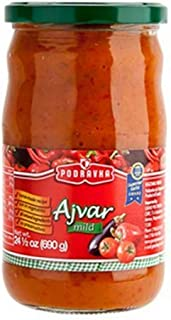 Podravka Ajvar Mild Eggplant and Pepper Relish Jar, 350 Gram (Pack of 12)