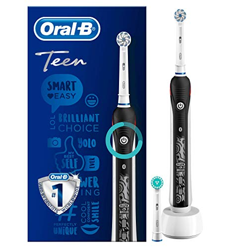 Oral-B Teen Brosse à Dents Électrique Rechargeable avec 1 Manche et 1 Brossette, Technologie 3D, Noir, Élimine jusqu'à 100 % de plaque dentaire
