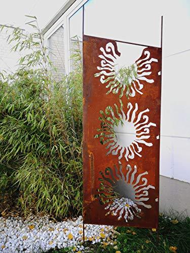 Zen Man Edelrost Garten Sichtschutz aus Metall 1mm Rost Gartenzaun Gartendeko edelrost Sichtschutzwand H165*50cm 030935-1, Fuss=20cm