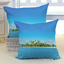 DuckBaby Island Customized Pillowcase Uninhabited Island at Philippines Beach Palm Trees Forest Tropical Vacation Picture Without core W18 x L18 inch x 2 Blue Green