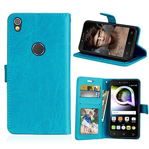 Alcatel Shine Lite Hülle, SATURCASE Glatt PU Lederhülle Magnetverschluss Flip Brieftasche Handy Tasche Schutzhülle Handyhülle Hülle mit Standfunktion für Alcatel Shine Lite 5080X (Blau)