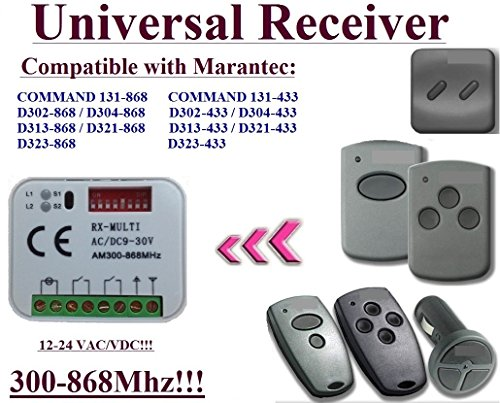 Universal Receiver kompatibel für Marantec 868,3 MHz D302 - 868/D304 - 868/D313 - 868/D321 - 868/Command 131 - 868 Fernbedienungen. 2-channel Rolling Fixed code 300 mhz-868mhz 12 - 24 VAC/DC Receiver