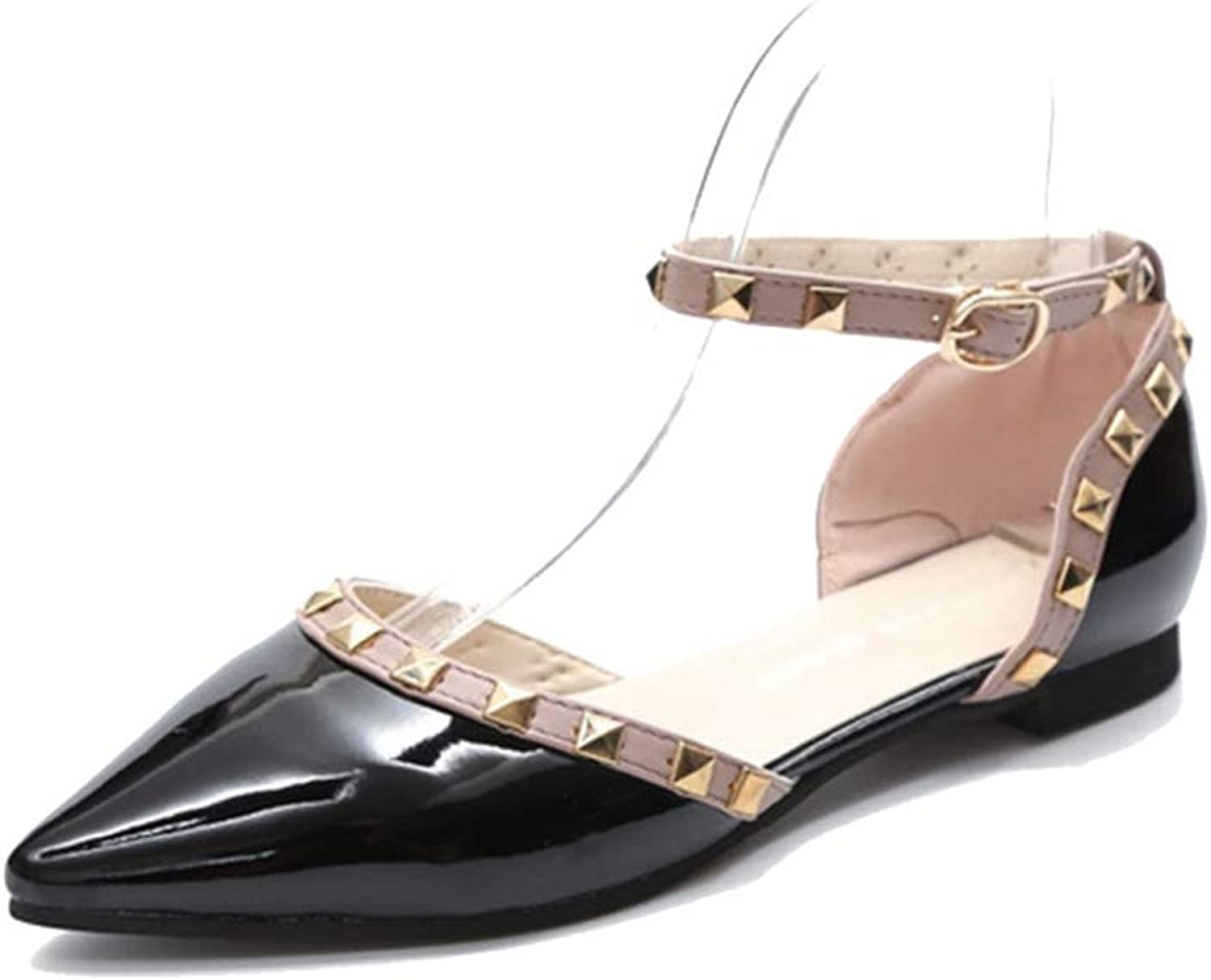 Women Flats shoes Ankle Strap Pointed Toe Patent Leather Non-Slip Flats shoes