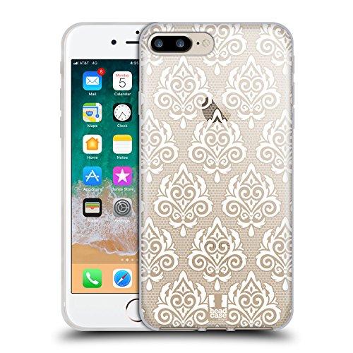 Head Case Designs Damasco Stampe Pizzo Bianco Cover in Morbido Gel e Sfondo di Design Abbinato Compatibile con Apple iPhone 7 Plus/iPhone 8 Plus