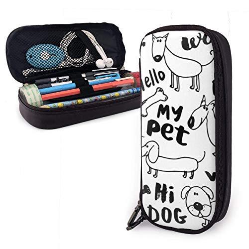 Mein Haustier Hund Leder Federmäppchen mit Reißverschluss, PU Leder Bleistifthalter Stiftetasche Tasche