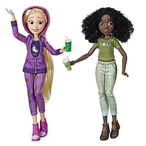 Disney Prinzessinnen Comfy Squad Rapunzel und Tiana, Puppen zum Film Chaos im Netz mit Freizeit-Outfit und Zubehör