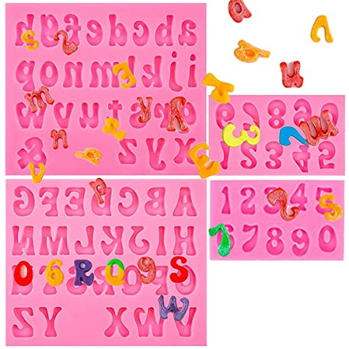 Letters and Number Silicone Fondant Molds, Uppercase Lowercase Silicone Fondant Mold, 0-9 Number Chocolate Molds, Handmade Soap Molds for Dessert Baking Cake Decoration(4PCS)