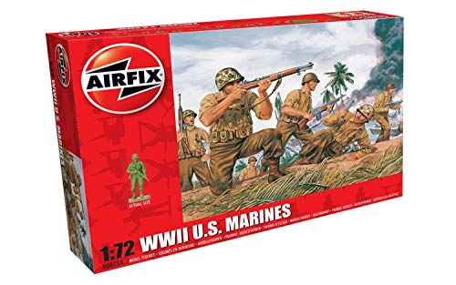 Airfix A00716 WWII US Marines Figures 1:72 Military Soldiers Plastic Model Kit, (Pack of 46), Multicolor