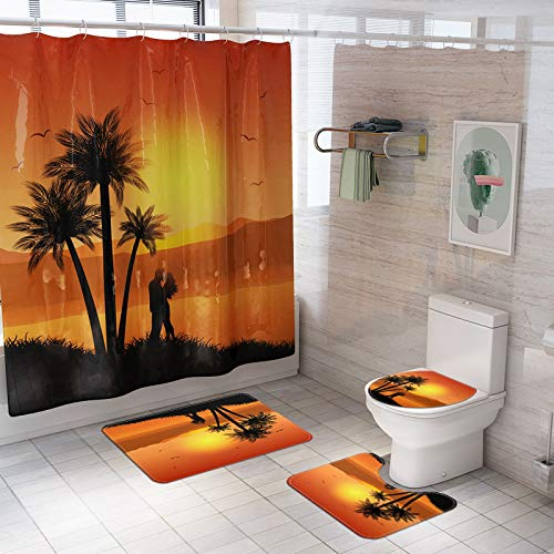 CNNINHAO Shower Curtains Rugs Set of 4, Bathroom Shower Curtain Pedestal Rug Toilet Seat Cover Bath Mat Anti Slip Waterproof Bathroom Accessories Home Decoration (5)