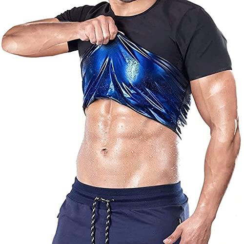SKYWPOJU Sauna Heat Trapping T-Shirt - Hombres Mujeres - para Sudar y quemagrasas Cinturón Adelgazante (Color : Men, Size : XL)