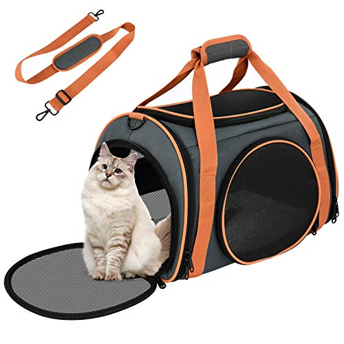 OKMEE Cat Carrier Puppy Carrier with 5-Side Breathable Foldable Mesh Windows with Robust Steel Frame Structure for Pet, Perfect For Airline/Train/Car Travel with Shoulder Strap