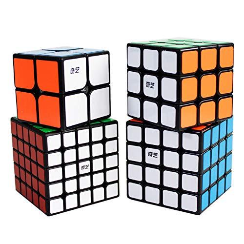 Speed Cube Bundle de 2x2 3x3 4x4 5x5 Cubo mágico Puzzle Cubos Set Colección Set de Regalo (Negro Black)