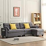 Cherry Tree Furniture Brunswick 4-Seater Storage Chaise Sofa (Grey)