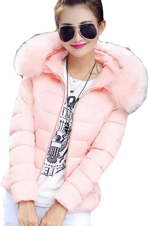 PujinggeCA Women Winter Puffer Down Coat Jackets with Faux Fur Hoodie
