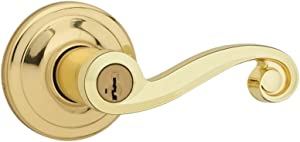 Kwikset Lido Entry Lever featuring SmartKey in Polished Brass