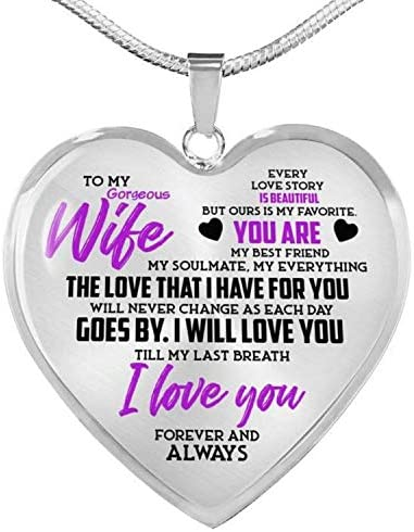 ZXOTTY to My Gorgeous Wife My Everything from Husband Luxury Heart Shape Pendant Necklace for product image