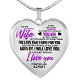 ZXOTTY to My Gorgeous Wife My Everything from Husband Luxury Heart Shape Pendant Necklace for Her Wife Holidays Graduation Birthday Party Proposal
