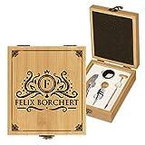 Murrano Weinöffner-Set personalisiert Weinset Sommelier Set - Geschenkbox Holzbox + 4er Weinzubehörset - aus Bambus - Braun - Geschenk zum Geburtstag für Herren - Name