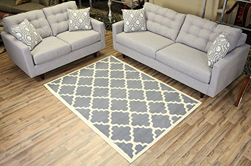 RugStylesOnline Modella Collection Trellis Modern Area Rug Rugs, Gray