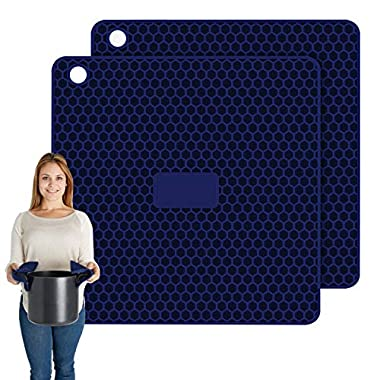 Pratipad Plus 4-in-1 Multipurpose Silicone Pot Holders, Trivets, Jar Openers, Spoon Rests - Extra Thick Protection - Set of 2 Navy Blue