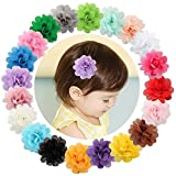 Txian 20 Chiffon-Blumen, Baby-Haarnadeln für Mädchen, Krokodilklemmen, Haarspangen.
