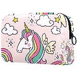 Bolsa de cosméticos para mujer, adorables bolsas de maquillaje espaciosas para viajes, accesorios de regalo, unicornio rosa arcoíris