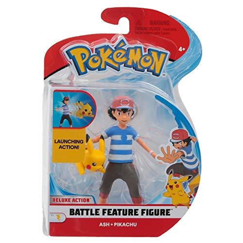 Giochi Preziosi Pokemon Figuren mit Lancio-Funktion Ash und Pikachu, 12 cm