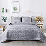 Andency Grey Quilt Set King (90x104 Inch), 3 Pieces(1 Striped Triangle Pattern Quilt and 2 Pillowcases), Bohemian Reversible Bedspread Microfiber Coverlet Sets All-Season