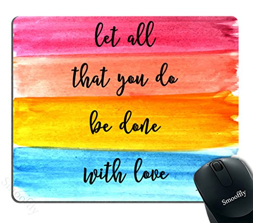 Smooffly Gaming Mouse Pad Custom,Let All You do be Done with Love - Christian Quotes Bible Verses 1 Corinthians 16:14 Non-Slip Rubber Large Mouse pad