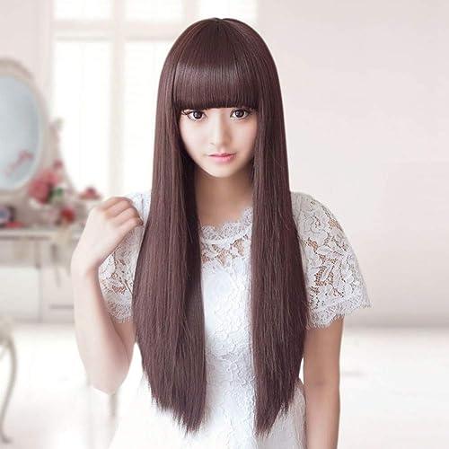 protección post-venta Peluca de cabello largo largo largo y liso Qi Liu cabello falso dama peluca de pelo larga natural realista reparación de cabello falso estudiante - marrón  comprar descuentos