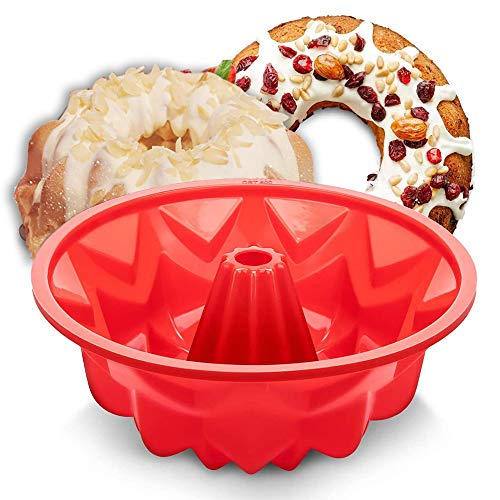 Aokinle Silicone Cake Pan, European Grade Fluted Round Cake Molds, Non-Stick Jello Molds for Baking, Flexible Tube Pan, Ring Mold Cake pan 10inches, Red