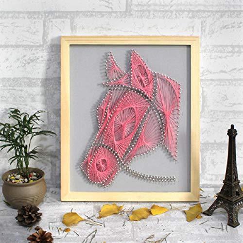 Frameless DIY materiaal gewikkeld string garen schilderij nagel wikkeling foto paard hoofd handgemaakte decoratieve schilderij 30 * 40cm