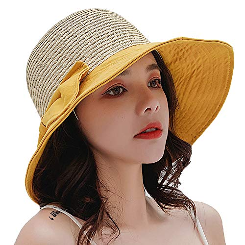 GRX-HAT Sommer Sonnenhut Damen, Nähen Dual-Use-Gras Top Strand Hut, Sommer gestreiften Mode Tether Bogen Fischerhut,Yellow