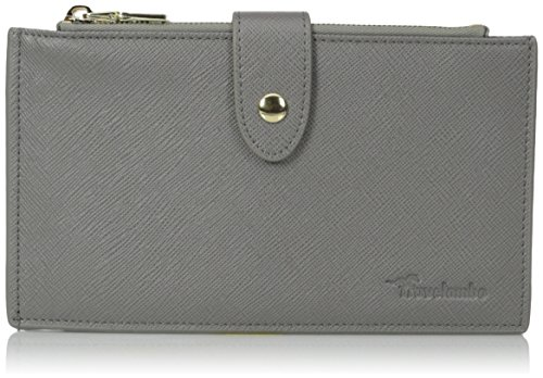 Women's RFID Genuine Leather Ultrathin Bifold Long Wallet (Grey)